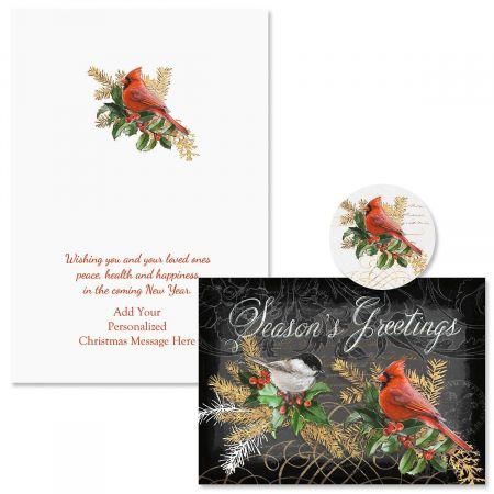 Birds and Boughs Christmas Cards - Personalized