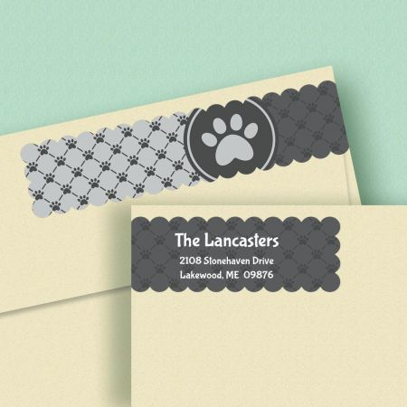Paw Prints Connect Wrap Diecut Address Labels  (4 Colors)