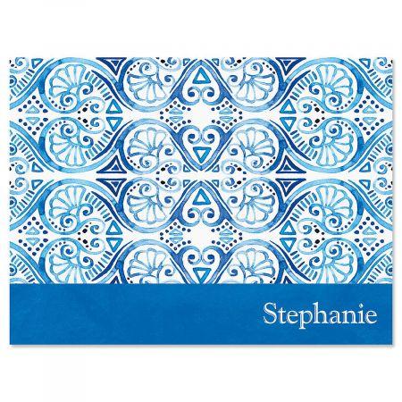 Crazy Quilt Indigo Personalized Note Cards