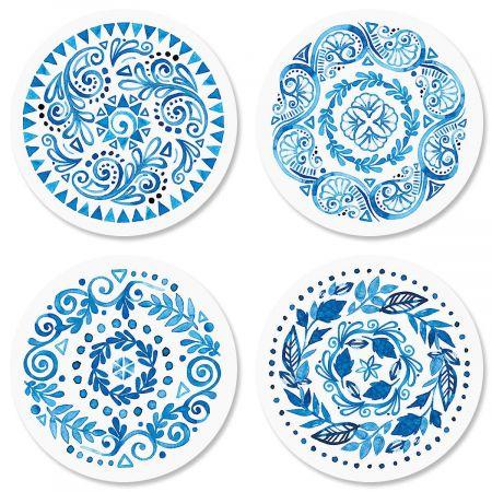 Crazy Quilt Indigo Envelope Seals  (4 Designs)