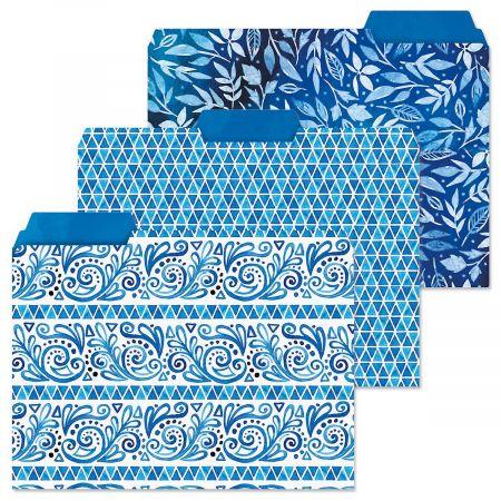 Crazy Quilt Indigo File Folders  (3 Designs)