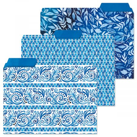 Crazy Quilt Indigo File Folders