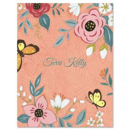 Floral Pink Custom Note Cards