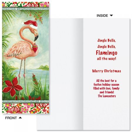 Flamingo Slimline Holiday Cards