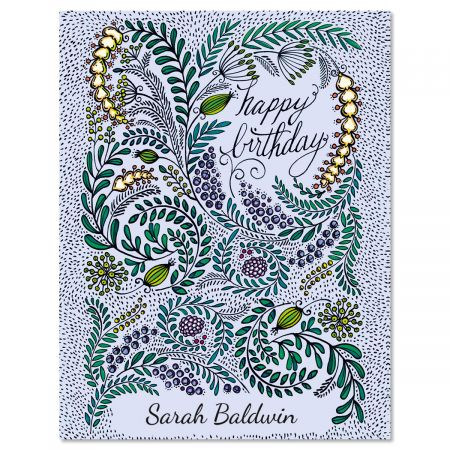 Birthday Doodle Personalized Note Cards