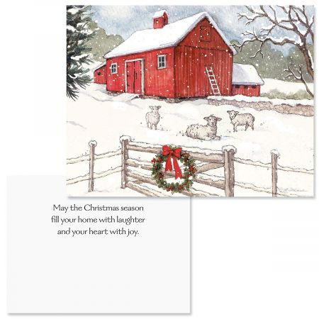 Country Barn Note Card Size Christmas Cards