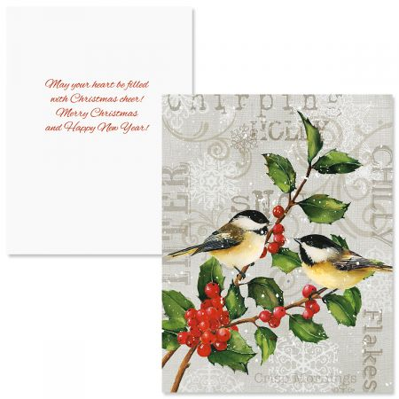 Chickadees and Holly Note Card Size Christmas Cards