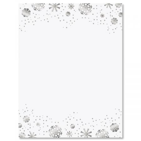 Silver Snowflakes Christmas Letter Papers