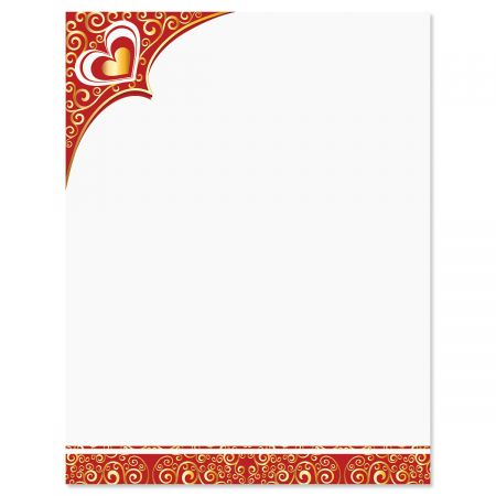 Golden Heart & Flourishes Valentine's Day Letter Papers