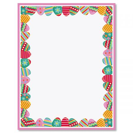 Pink Frame Easter Eggs Letter Papers