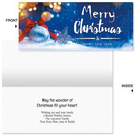 Snow Christmas Slimline Holiday Cards