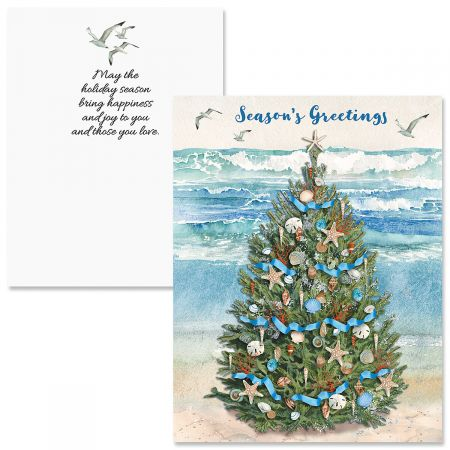 Beach Christmas Cards >> Beach Christmas Tree Note Card Size Christmas Cards
