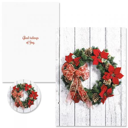 Poinsettia Wreath Christmas Cards