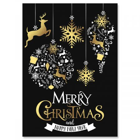 Festive Holiday Foil Christmas Cards - Personalized
