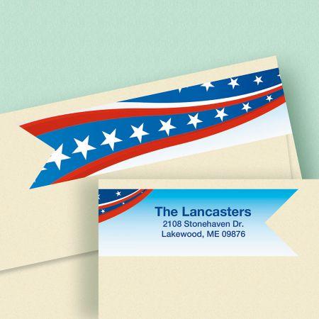 Patriotic Connect Wrap  Diecut Address Labels
