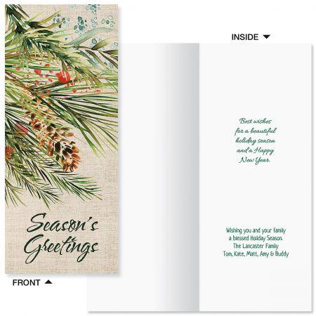 Pine & Berries Slimline Holiday Cards
