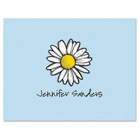 Textile Daisy Custom Note Cards