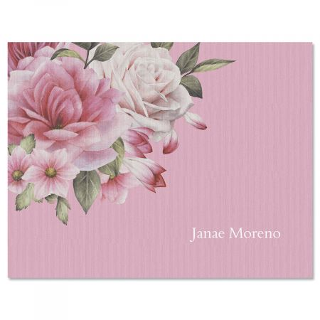 Corner Roses Custom Note Cards