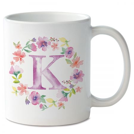 Floral Initial Personalized Mug