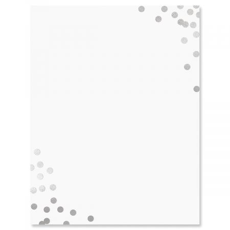 Silver Confetti Letter Papers