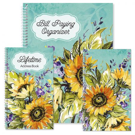 Watercolor Sunflower Organizer Books