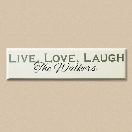 Live, Love, Laugh Personalized Wooden Plaque