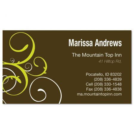 brown and Green Swirl Business Cards