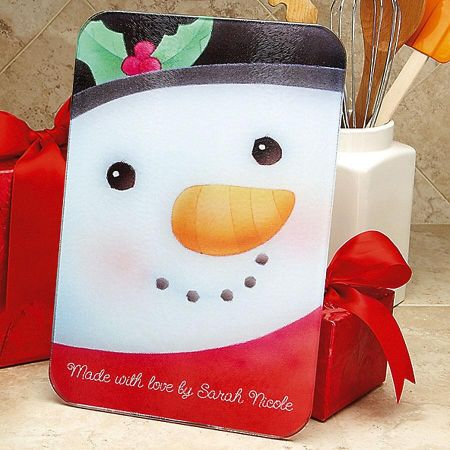 Snowman Glass Custom Cutting Board