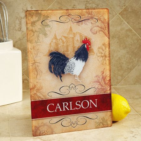 Rooster Custom Glass Cutting Board