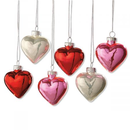 Shiny Glass Heart Ornaments