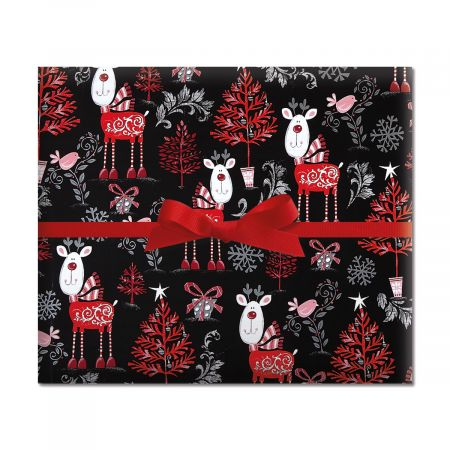 Reindeer on Black Jumbo Rolled Gift Wrap