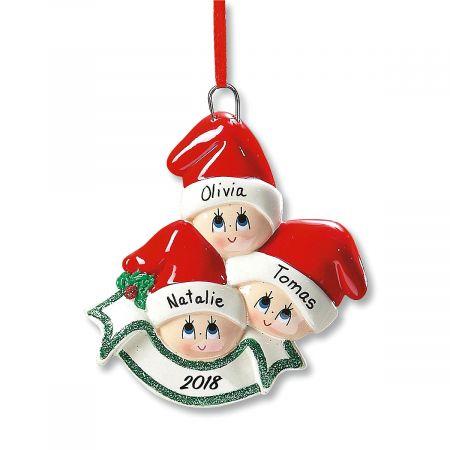 Santa Cap Family Custom Christmas Ornament