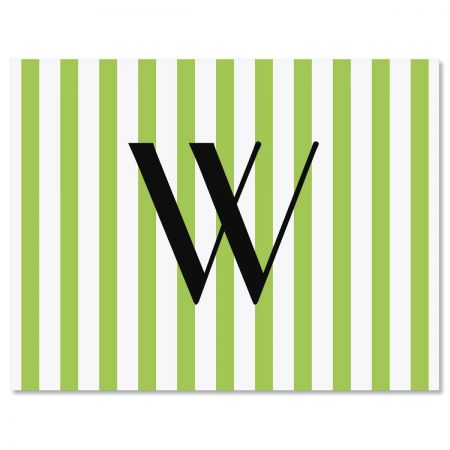 Stripes Initial  Personalized Note Cards - Set of 24