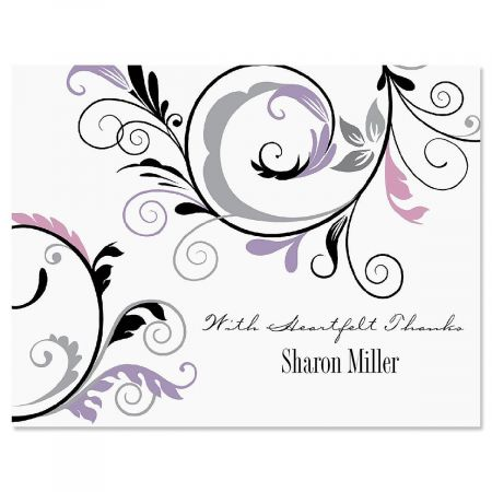 Black and Grey Fantasy Personalized Thank You Cards