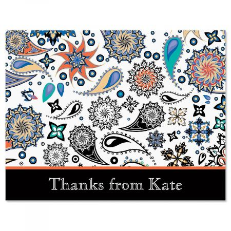 Color Paisley Custom Thank You Cards