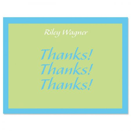 Bordered Hues Personalized Thank You Cardss