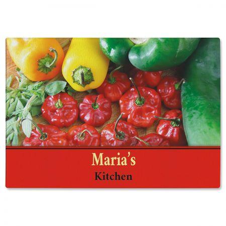 Chili Pepper Glass Cutting Board