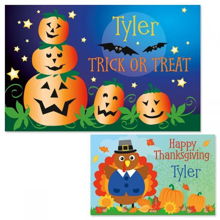 Jack-o'-Lanterns Autumn Place Mats