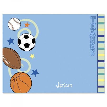 Sports Balls Custom Thank You Cards
