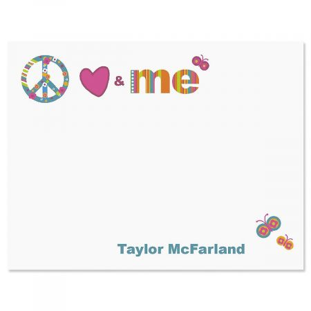 Peace, Love & Me Personalized Correspondence Cards