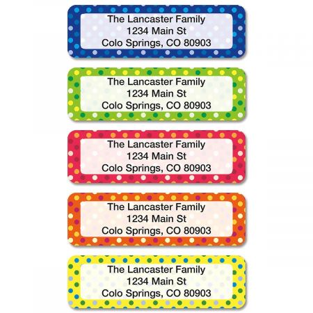 Dot Pattern Rolled Return Address Labels (5 Designs)