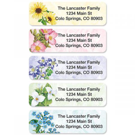 Spring Floral Rolled Return Address Labels  (5 Designs)