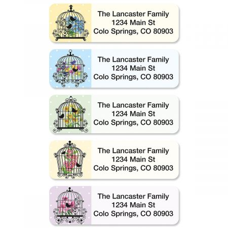 Bird Cages Rolled Return Address Labels  (5 designs)