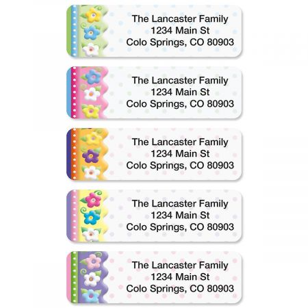 Frosting Flowers Rolled Return Address Labels  (5 Designs)