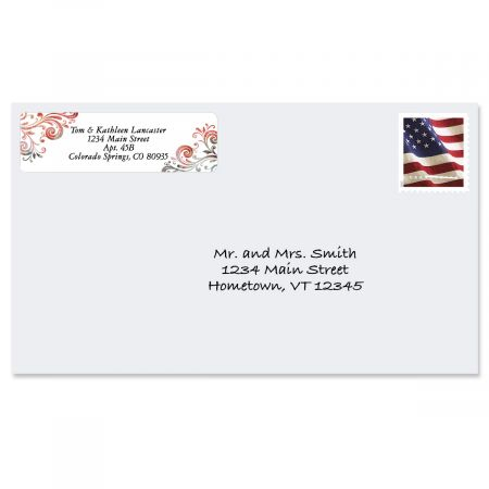 Gray Swirls Rolled Return Address Labels  (5 Designs)