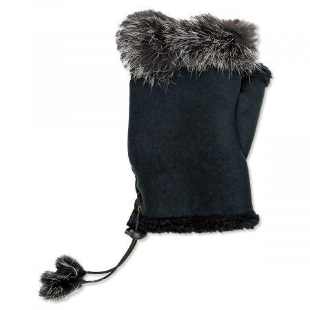 Black Faux Fur Texting Gloves