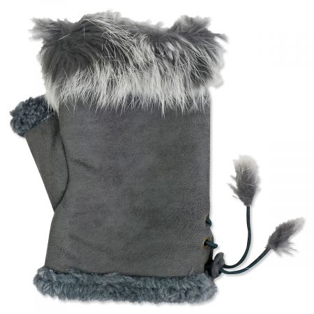 Grey Faux Fur Texting Gloves