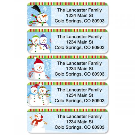 Happy Snowman Rolled Return Address Labels  (5 Designs)