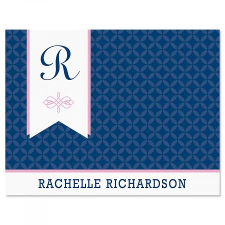 Ribbon Initial Personalized Note Cards