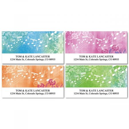 Floral Notes Deluxe Address Labels  (4 Designs)